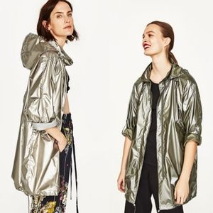 Zara metallic rain coat with hood